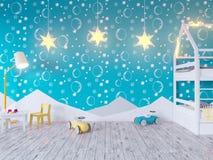 Глумитесь вверх по комнате цвета ` s детей плаката, с электрическими лампочками студия иллюстрации 3d, шаблон, вверх по, стена, б стоковые изображения