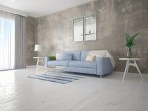 Глумитесь вверх по компактной живущей комнате с удобной софой Стоковая Фотография