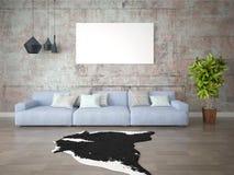 Глумитесь вверх по модной живущей комнате с большой удобной софой стоковое фото rf