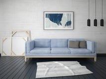Глумитесь вверх по модной живущей комнате с компактной софой Стоковая Фотография RF