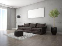 Глумитесь вверх по модной живущей комнате с стильной софой Стоковые Фото