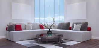 Глумитесь вверх по плакату, современной живущей комнате, дизайну интерьера 3D представьте Стоковое Изображение RF