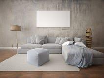 Глумитесь вверх по просторной живущей комнате с большой угловой софой Стоковое фото RF