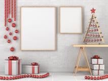 Глумитесь вверх по пустой деревянной картинной рамке, украшению рождества Стоковые Изображения