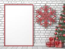 Глумитесь вверх по пустой картинной рамке, рождественской елке, sno ручек popsicle Стоковая Фотография