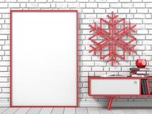 Глумитесь вверх по пустой картинной рамке, ручке popsicle украшения рождества Стоковое Изображение RF