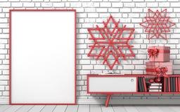Глумитесь вверх по пустой картинной рамке, ручке popsicle украшения рождества Стоковое фото RF