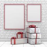 Глумитесь вверх по пустым картинной рамке, украшению рождества и подаркам 3D Стоковая Фотография