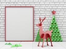 Глумитесь вверх по пустым картинной рамке, украшению рождества и северному оленю w Стоковые Изображения RF