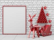 Глумитесь вверх по пустым картинной рамке, украшению рождества и северному оленю Стоковое Изображение