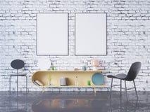 Глумитесь вверх по рамке плаката в предпосылке домашнего офиса внутренней, 3D представьте, иллюстрация 3D стоковые фотографии rf