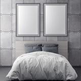 Глумитесь вверх по рамке плаката в предпосылке спальни внутренних и бетонной стене, иллюстрации 3D иллюстрация штока