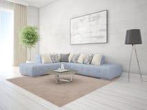 Глумитесь вверх по роскошной живущей комнате с удобной угловой софой Стоковое фото RF