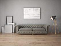 Глумитесь вверх по современной живущей комнате с кожаной софой Стоковая Фотография RF
