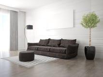 Глумитесь вверх по современной живущей комнате с модной софой Стоковые Фото