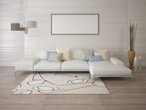 Глумитесь вверх по современной живущей комнате с светлой угловой софой Стоковые Изображения