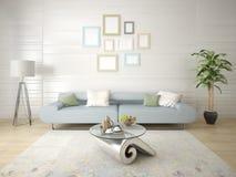 Глумитесь вверх по современной живущей комнате с стильными софами Стоковое Изображение
