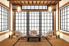 Глумитесь вверх по - современной живущей комнате, японскому стилю перевод 3d иллюстрация штока