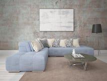 Глумитесь вверх по стильной живущей комнате с большой угловой софой стоковые изображения