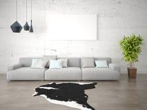 Глумитесь вверх по стильной живущей комнате с большой удобной софой Стоковое Фото