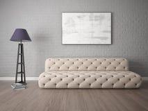 Глумитесь вверх по стильной живущей комнате с модной софой Стоковые Изображения RF