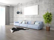 Глумитесь вверх по яркой живущей комнате с большой удобной софой Стоковые Изображения RF
