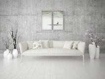 Глумитесь вверх по яркой живущей комнате с стильной классической софой Стоковые Фото