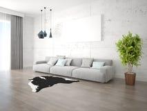 Глумитесь вверх по яркой просторной живущей комнате с большой удобной софой Стоковая Фотография