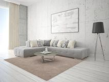 Глумитесь вверх по яркой стильной живущей комнате с классической софой Стоковое Фото