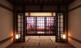 Глумитесь вверх, японская пустая циновка tatami комнаты конструируя самое красивое r бесплатная иллюстрация