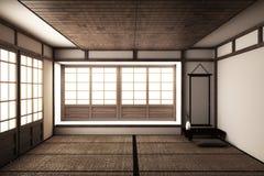 Глумитесь вверх, японская пустая циновка tatami комнаты конструируя самое красивое r иллюстрация штока