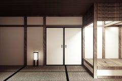 Глумитесь вверх, японская пустая циновка tatami комнаты конструируя большинств красивое - стиль дзэна r иллюстрация вектора