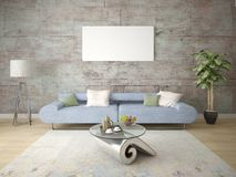 Глумитесь просторная живущая комната с компактное удобным стоковые фотографии rf