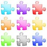 глянцеватое головоломки установленное Стоковые Изображения