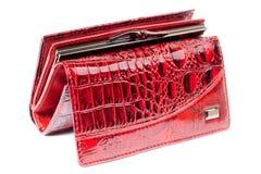 глянцеватое портмона красное Стоковое Изображение RF