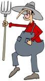Гневный фермер с вилой Стоковая Фотография RF