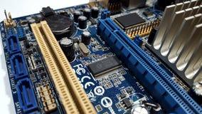 Гнезда на старых материнских платах компьютера стоковая фотография rf