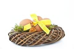 Гнездй пасхи с пасхальными яйцами Стоковое фото RF
