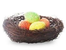 Гнездй пасхи с яичками Стоковая Фотография