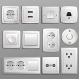 Гнездо и переключатель vector электрический выход для электрических штепсельных вилок и комплекта иллюстрации электричества разны иллюстрация штока