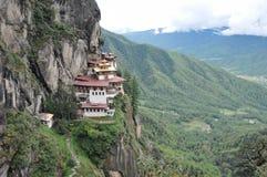 Гнездо тигров monastary в Paro, Бутане Стоковое Изображение RF