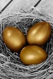гнездй пасхального яйца золотистое Стоковое Изображение