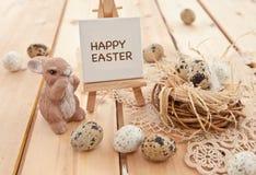 Гнездй пасхи с яичками триперсток Стоковое Фото