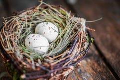 Гнездо пасхального яйца на деревенской деревянной предпосылке Стоковая Фотография RF