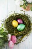 Гнездо с покрашенными яичками Стоковые Фотографии RF