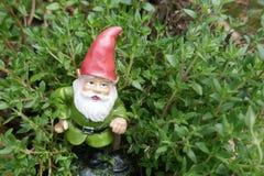Гном сада между зелеными травами стоковое фото rf