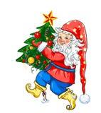 Гном с рождественской елкой, Сантой и рождественской елкой иллюстрация вектора