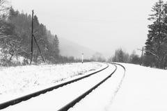 Гнуть железной дороги в ландшафте зимы стоковые изображения rf