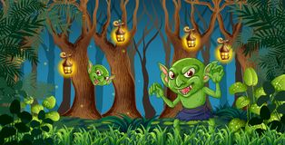 Гоблин в темном лесе бесплатная иллюстрация