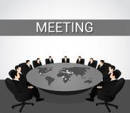 говорить встречи компьтер-книжки стола cmputer бизнесмена дела сь к использованию женщины Группа в составе бизнесмены обсуждает н иллюстрация вектора